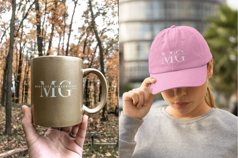 Mortgage Girlfriends gold cup and pink cap