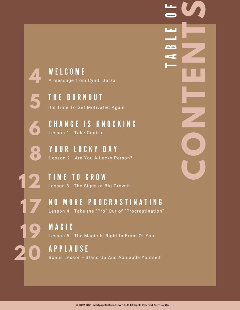 Image of the Workbook's table of contents
